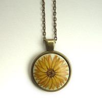 Cute Sunflower Necklace, Hand Painted Pendant, Flower Jewelry, Vintage Look
