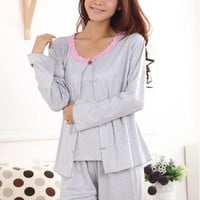 Wo Pajamas spring and autumn cotton sleep set long-sleeve Light gray lace sexy piece set lounge sleepwear D-492
