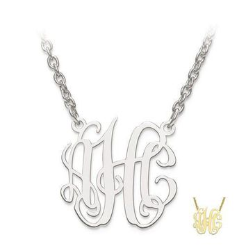 Personalized Circular Shaped Monogram Plate Pendant Necklace - Sterling Silver