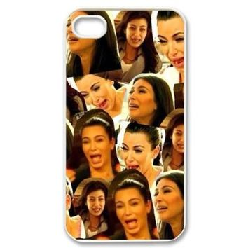 AZA Hard Case for iPhone 4, iPhone 4S, Kim Kardashian Cying Protective iPhone Cover-Black/White-Retail Packaging