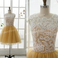 2014 White Vintage Lace Applique Cew Yellow Ball Gown Celebrity Dress,Knee Length Tulle Formal Evening Party Prom Dress Homecoming Dress