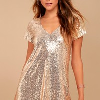 Light Up the Night Champagne Sequin Shift Dress