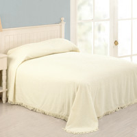 Full Size 100-Percent Cotton Chenille Bedspread in Light Yellow Ivory Color