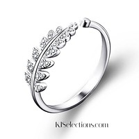 Simple Silver Plated Open Leaf Ring, Promise Ring, Gift for Her