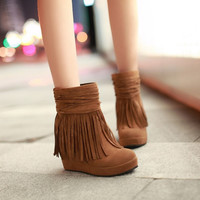 Tassel Women Boots Wedges Shoes Platform High Heels (US Size) = 1946299396