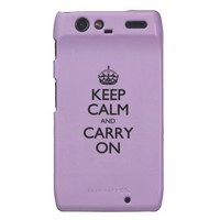 Violet African Keep Calm And Carry On Black Text Droid RAZR Covers from Zazzle.com