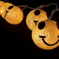 20 x yellow cotton ball smiley ball face handmade lantern party decoration bedroom light decor hanging display light handmade