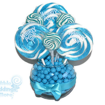 Small Light Blue Lollipop Centerpiece, Wedding Centerpiece, Light Blue, Blue, Lollipop Centerpiece, Candy, Buffet, Centerpiece, Blue Wedding