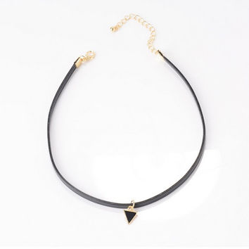 Luxury Leather Choker - Black with Triangle Pendant