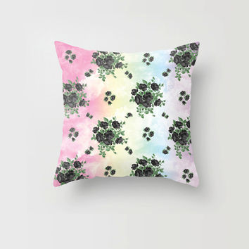Throw Pillow Cover Black Roses Floral Rainbow Clouds Pastel Goth Trippy Cute Decorative Pillow Cover Made to Order 16x16 18x18 20x20