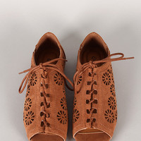 Qupid Palmer-118 Cut Out Lace Up Flat