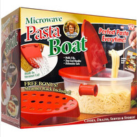 Pasta Boat Spaghetti bowl as seen on TV new hot Microwave Kitchen Tools Bonus Steam Rack Built in Strainer Cooking Free Shipping