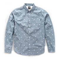 Stussy: Paisley Long Sleeve Button Down Shirt - Navy