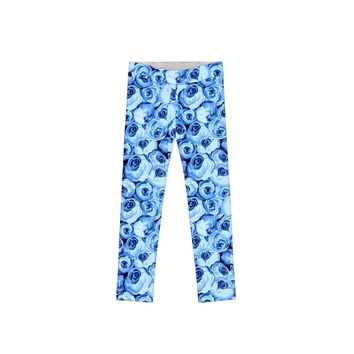 Whisper Lucy Stylish Blue Floral Graphic Print Leggings - Girls