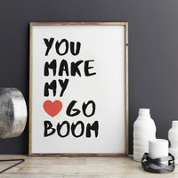 """Love poster """"You make my heart go book"""" Gift idea Typographic print Romantic poster For couples Love quote Love gift"""