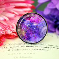 Abstract galaxy ring, purple, fuschia, and gold & silver alcohol ink design, 1inch adjustable antique bronze bezel ring with glass cabochon