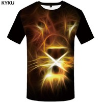 KYKU Lion T shirt Fluorescence Plus Size Black Funny Tshirt Clothes 3d T-shirt Print Shirts Men Man Big Punk Homme