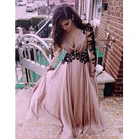 Lace Long-Sleeved Strapless V-Neck Maxi Dress