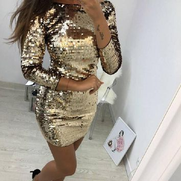 O Neck Autumn Gold Sequined Backless Sexy Dress Women Long Sleeve Mini Dress Christmas Party Club Strap Dresses Vestidos