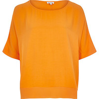River Island Womens Orange lightweight chiffon hem t-shirt