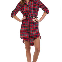 Gingham Plaid Belted Dress in Cherry