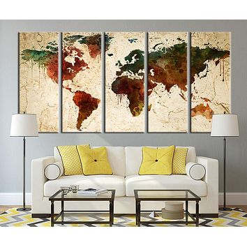 Watercolor World Map on Old Wall Canvas Art Print Old Wall World Map Print for Home Decor No:036