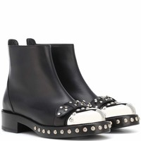 Hobnail leather ankle boots