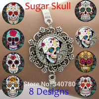 Glass Dome Lace Charm Bracelet Sugar Skull Skeleton Silver Bangle High Quality FREE Shipping