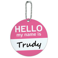 Trudy Hello My Name Is Round ID Card Luggage Tag