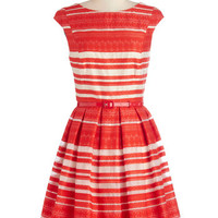 ModCloth Mid-length Cap Sleeves Fit & Flare Principal Performer Dress