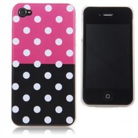 Elegant Dot Pattern Hard Plastic Case Cover for iPhone 4S/iPhone 4 (Black and Pink)