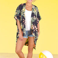 Come What May Floral Kimono - Navy