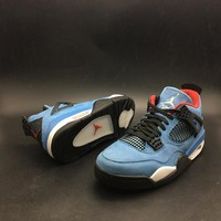 "Travis Scott x Air Jordan 4 Retro ""Houston Oilers"" University Blue/Varsity Red-Black AJ4 Sneakers - Best Deal Online"