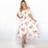 Always Yours Floral Maxi Dress in Ivory
