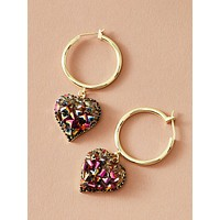 1pair Round Decor Heart Drop Earrings