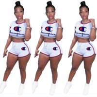 Champion Newest Hot Sale Woman Fashion Print Short Sleeve Top Shorts Set Two Piece Sportswear