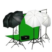 ePhoto Premium Portrait Photography Studio Video Lighting Kit with 3 Chromakey Black, White, Green Muslin Supporting Background Stand System Case by ePhotoInc H4045