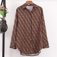 Fendi Women Fashion New More Letter Print Long Sleeve Top Shirt Brown