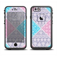 The Squared Pink & Blue Textile Patterns Apple iPhone 6 LifeProof Fre Case Skin Set