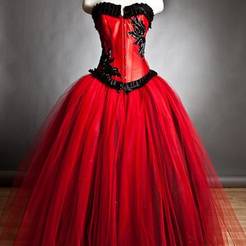 Custom Size red and black burlesque corset Ball gown by Glamtastik