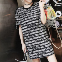 Fashion Casual Multicolor Letter Print Round Neck Short Sleeve T-shirt Mini Dress