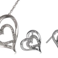 Sterling Silver Diamond-Accented Heart Earrings and Pendant Necklace Jewelry Set (0.02 cttw)