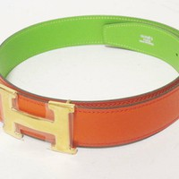 HERMES H belt 70 Constance reversible orange green metal buckle A time (N3364