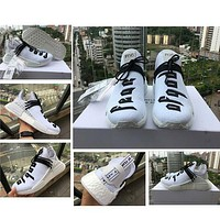 Pharrell Williams NMD Human Race Real Boost X Fear Of God Black White Running Shoes FOG Runner For Men Women Size36-47 With Box+Laces