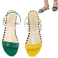 Women Casual Color-Block Fashion Flat Sandals