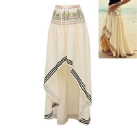 Boho Style Long Skirt Maxi Beach Asymmetric Wrap Skirt