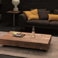Design height-adjustable extending wooden coffee table for living room BOX LEGNO by Ozzio Design | design Studio Ozeta