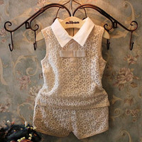 Girls Vest + Shorts Casual Suit Khaki
