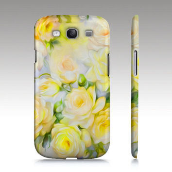 Floral Galaxy S3 case, Samsung Galaxy SIII, vintage flowers, yellow roses, painting, art for your phone