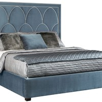 Blue Bed with Nailhead Headboard